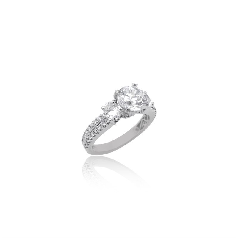 Simon G 18k White Gold 3 Stone Engagement Ring