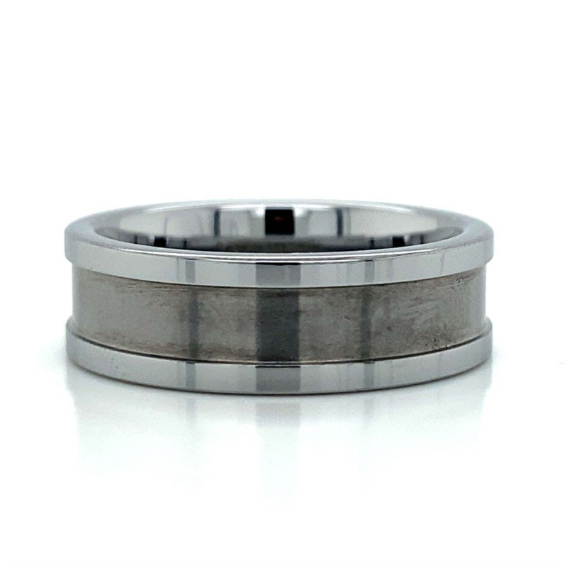 Benchmark Rings Tungsten Lifted Edge Band