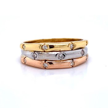 18k White, Yellow, & Rose Gold Band