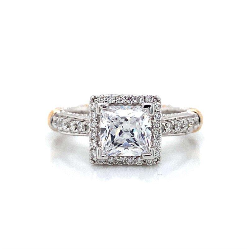 Verragio 18k White & Rose Gold Verragio Halo Ring