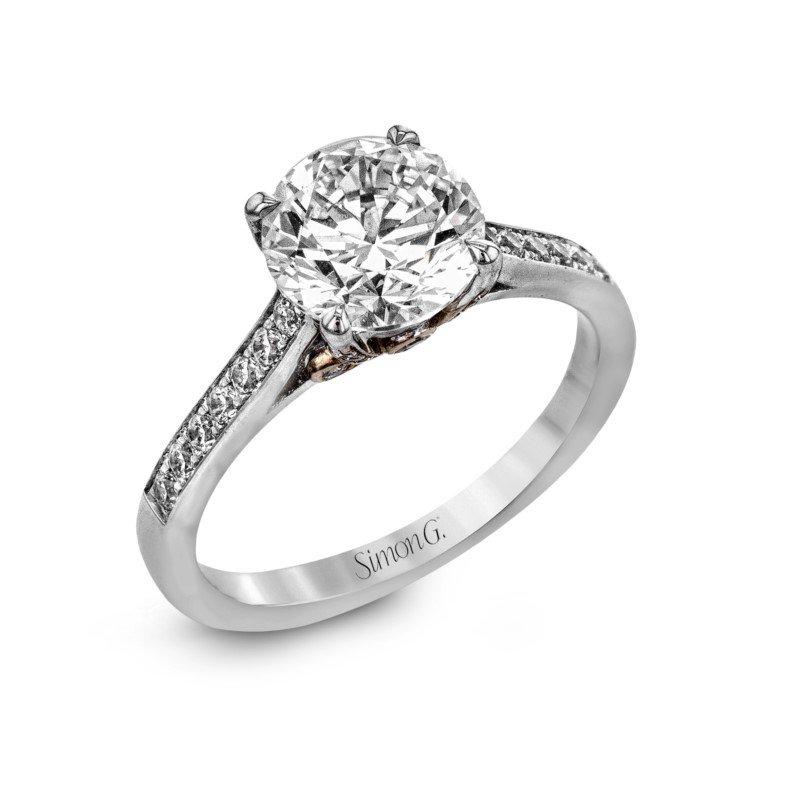 Simon G 18K White Gold Engagement Ring