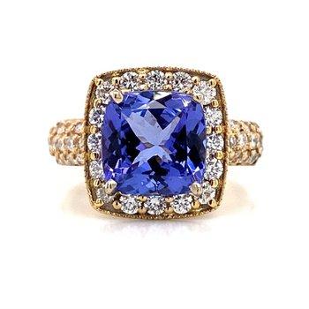 14K Tanzanite Halo Ring