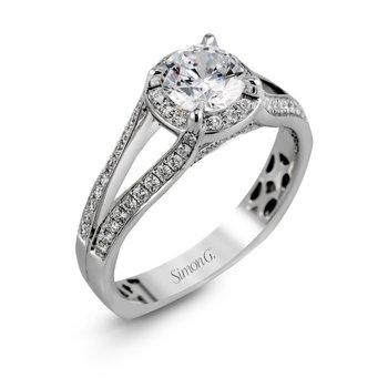 18k White Gold Halo Split Shank Ring