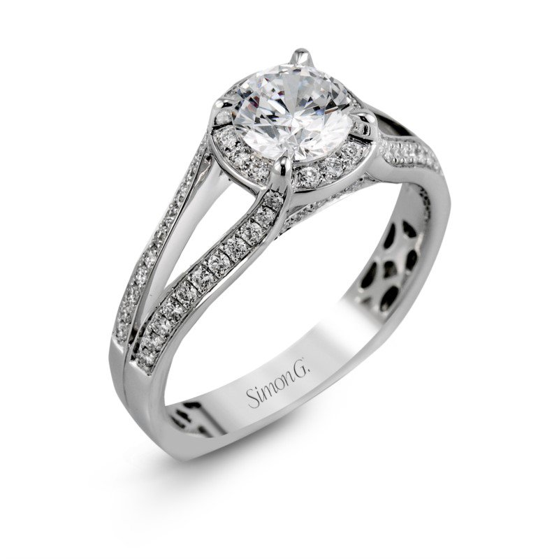 Simon G 18k White Gold Halo Split Shank Ring