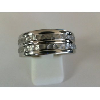 14k White Gold Hammered Band