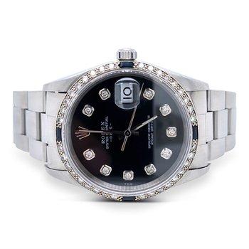 Rolex Stainless Steel Diamond & Sapphire Date Watch