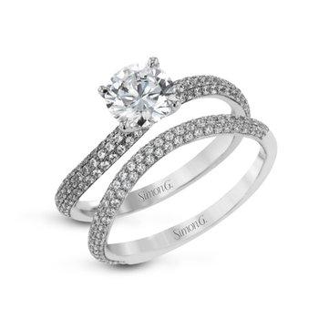 18K White Gold Diamond Engagement and Wedding Band