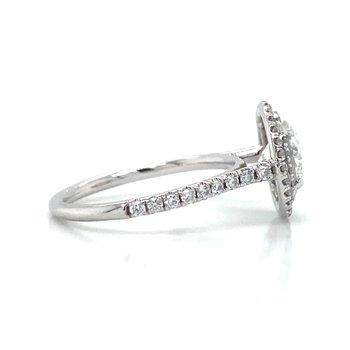 18K White Gold Double Halo Ebgagement Ring