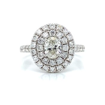 18K Double Halo Diamond Ring