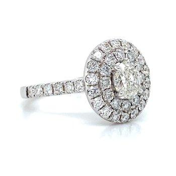 18K Double Halo Diamond Ring