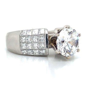 Platinum Invisible Set Diamond Ring