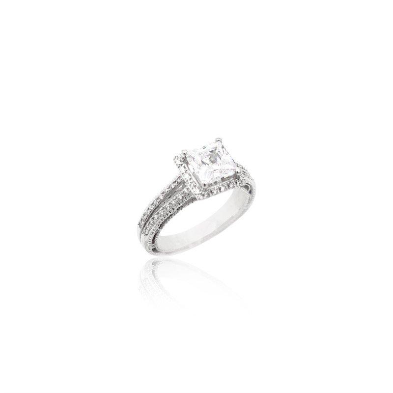 Verragio 18k White Gold Verragio Split Shank Ring