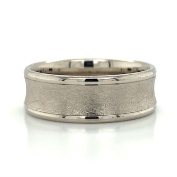 14k White Gold Concave Band