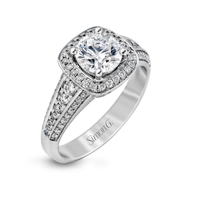 Simon G 18k White Gold Halo Engagement Ring