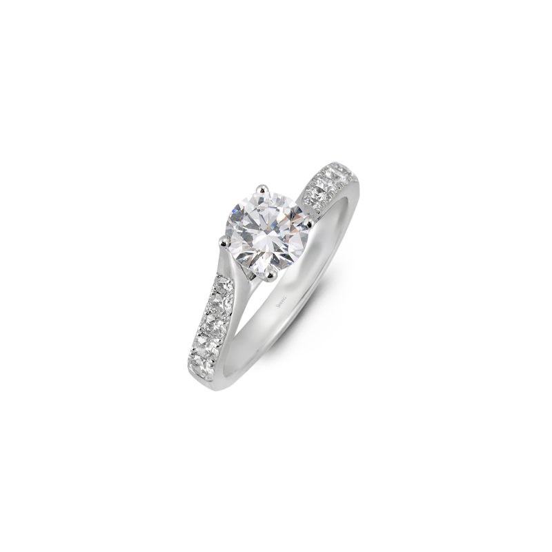 Simon G 18K White Gold Diamond Engagement Ring