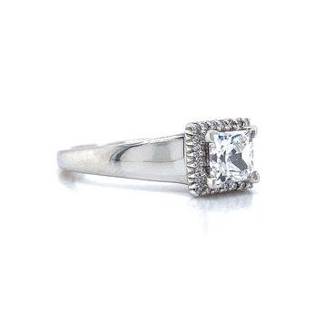 18k White Gold Halo Ritani Ring