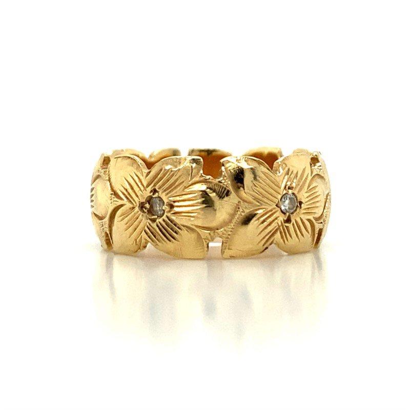 Robert Palma Designs 14K Diamond Plumeria Ring