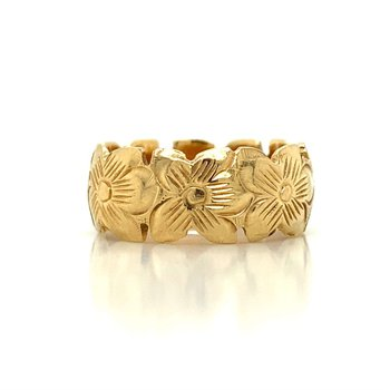 14K Diamond Plumeria Ring