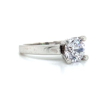 14k White Gold 4-Prong Ring