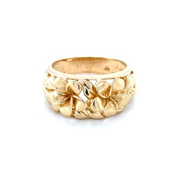 14k Yellow Gold Plumeria Ring