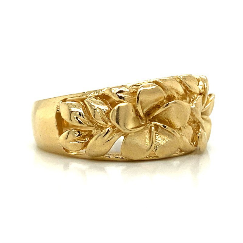 14k Yellow Gold Plumeria Ring