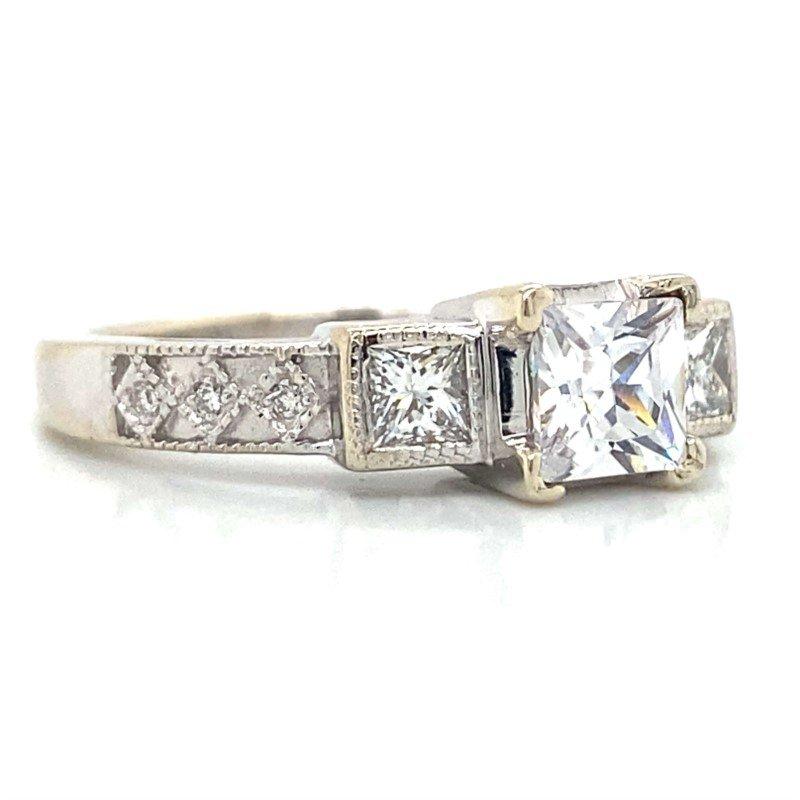 Robert Palma Designs 14k White Gold Three Stone Ring