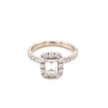 Lady's Platinum Halo Engagement Ring