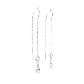 Sterling Silver CZ Threader Earrings
