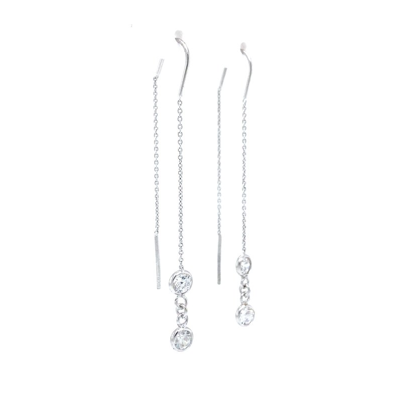 Robert Palma Designs Sterling Silver CZ Threader Earrings