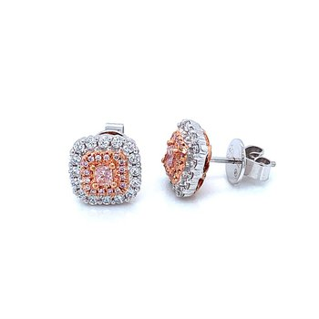 18k White & Rose Gold Pink Diamond Earrings