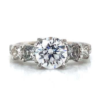 18k White Gold Five Stone Ring