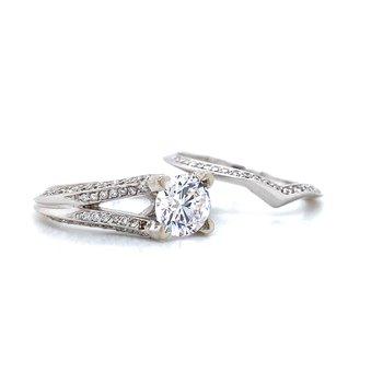 14k White Gold Bridal Set