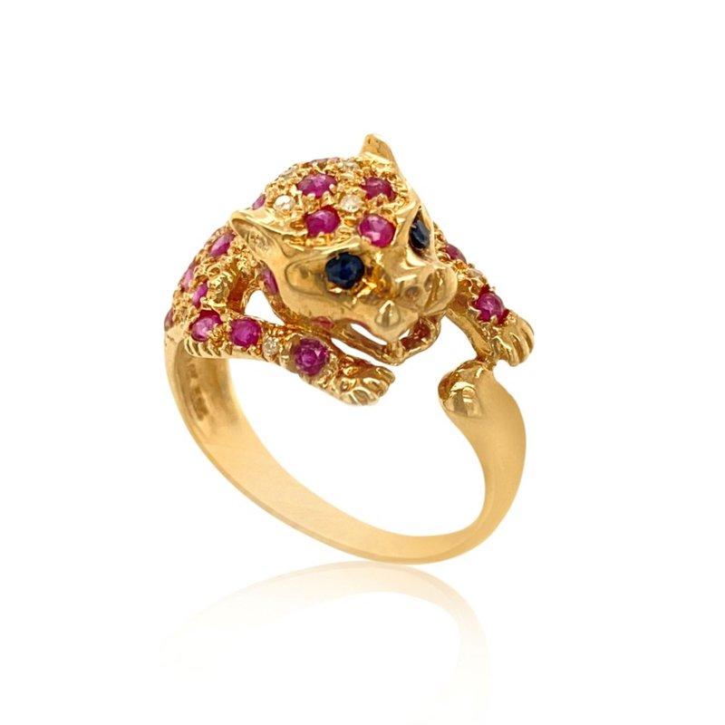 14k Yellow Gold Panther Ring