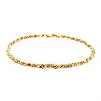 18k White & Yellow Gold Rope Bracelet