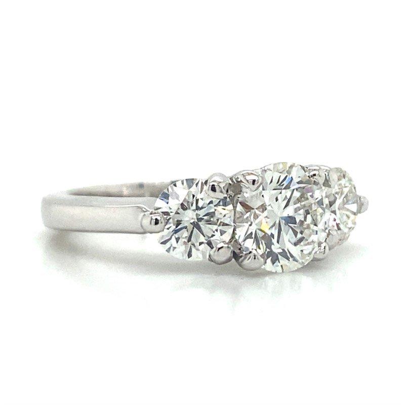 14K White Gold 3-Stone Ring
