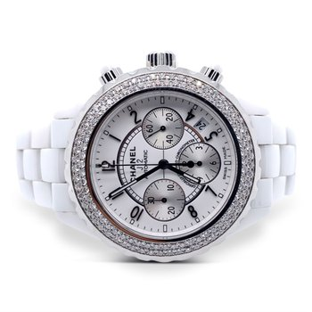 White Ceramic Chanel J12 Chronograph Watch
