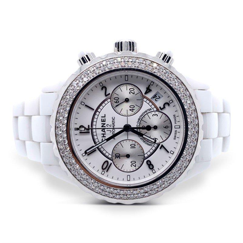 White Ceramic Chanel J12 Chronograph Watch