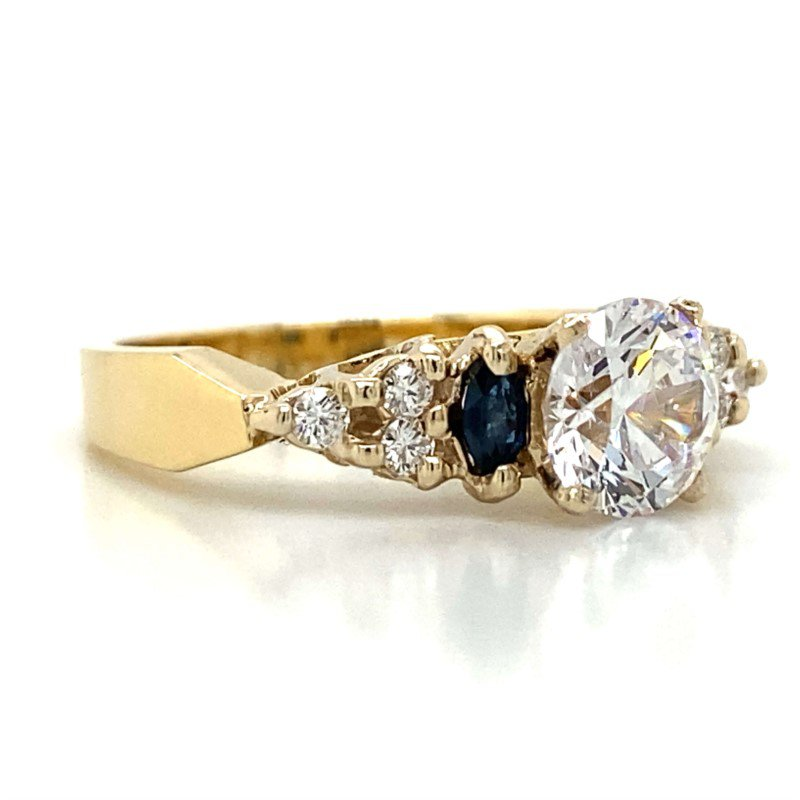 Robert Palma Designs 18k White Gold Diamond & Sapphire Ring