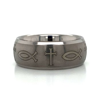 Tungsten Inscribed Cross & Fish Band
