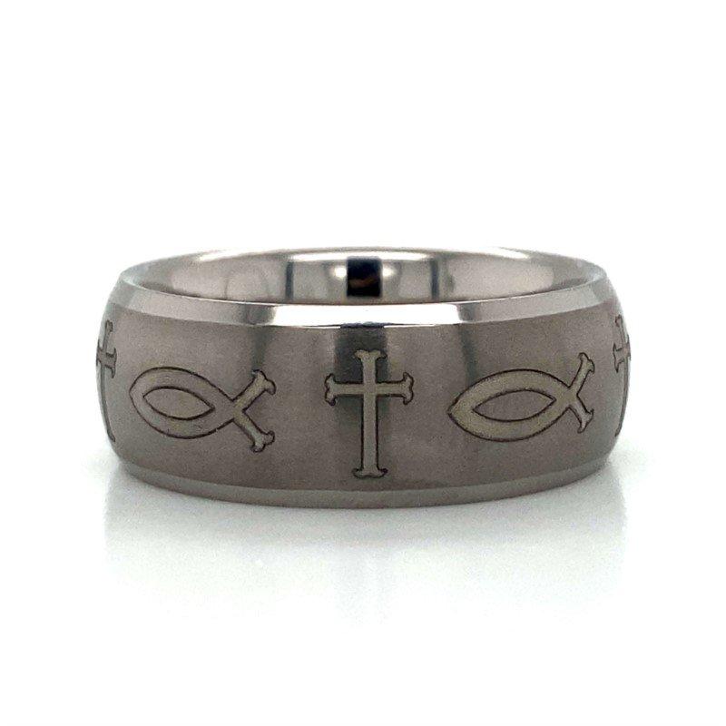 Robert Palma Designs Tungsten Inscribed Cross & Fish Band