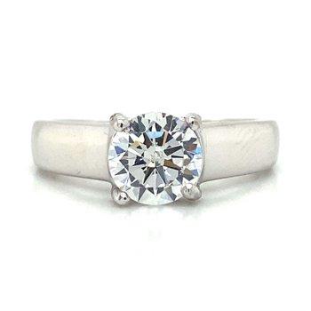 Palladium Solitaire Style Ring