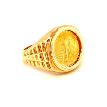 14/24k Yellow Gold Five Dollar Liberty Coin Ring