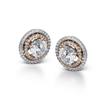 18K White and Rose Gold Earring Jackets