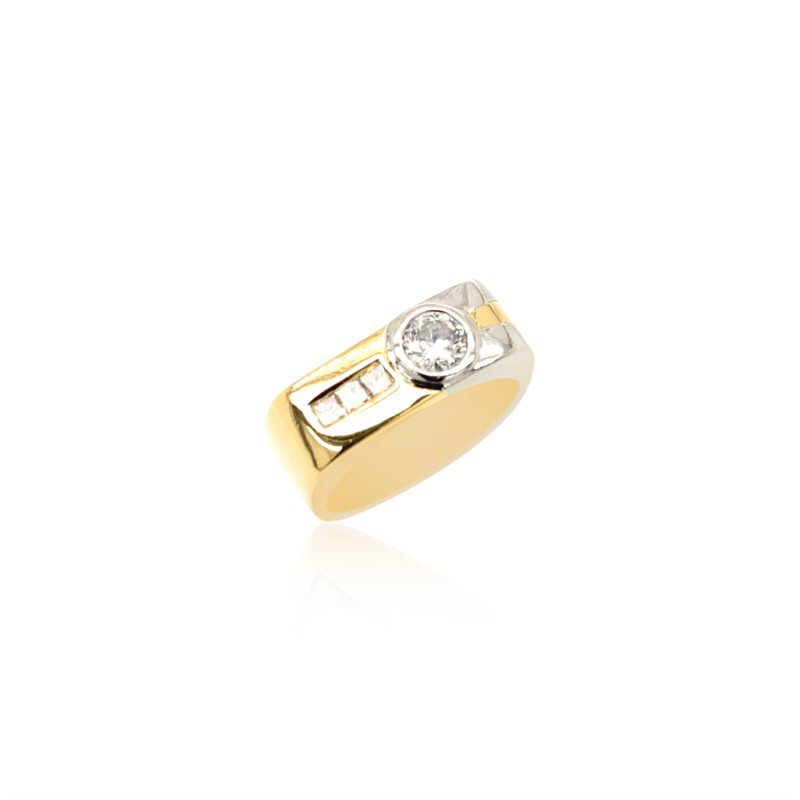 Robert Palma Designs 18k Yellow Gold & Platinum Diamond Band