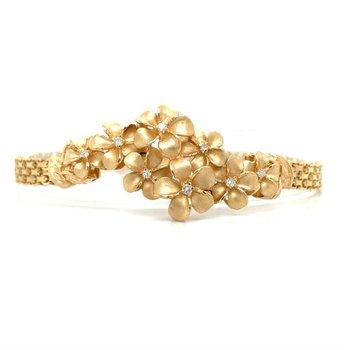 14k Yellow Gold Plumeria Bracelet