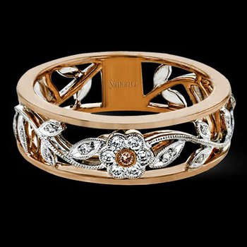 18k White & Rose Gold Floral Fashion Ring