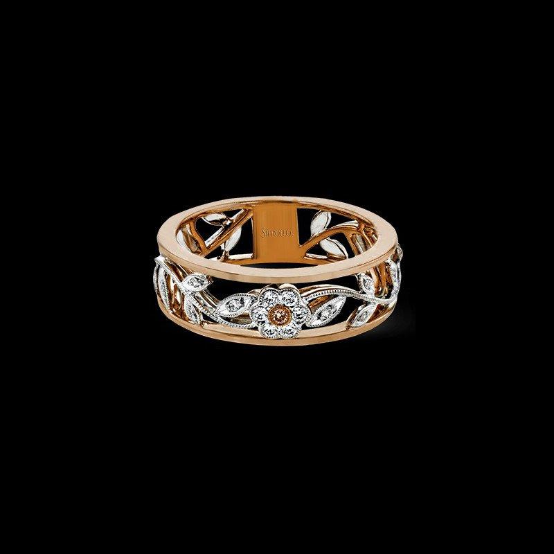 Simon G 18k White & Rose Gold Floral Fashion Ring
