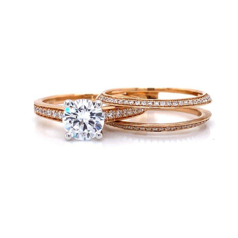 Simon G 18k Rose Gold Engagement Set