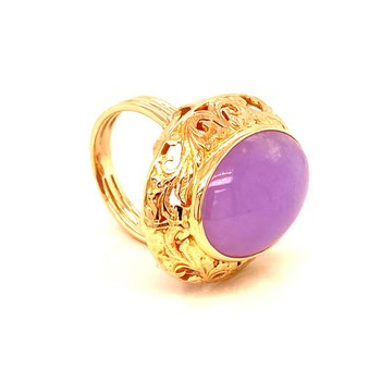 14k Yellow Gold Lavender Jade Ring