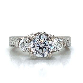 18k White Gold Three Stone Ring